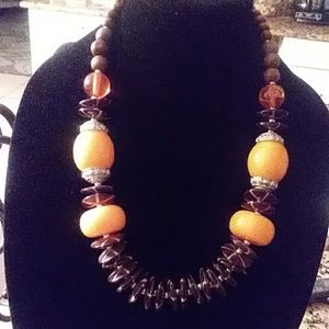 Pretty yellow and brown necklace.